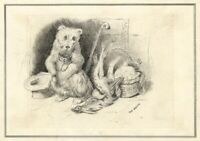 The Beggar Dog after Sir Edwin Landseer –Late 19th-century pen & ink drawing