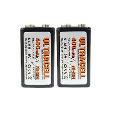 2 pcs 9V Volt Block 400mAh Ni-MH Rechargeable Battery PP3 UltraCell US Stock