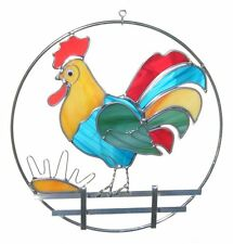 Stain Glass Rooster on Fence on a Wire Ring
