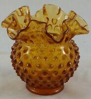 Fenton Art Glass Amber Hobnail Ruffled Small Bowl Dish