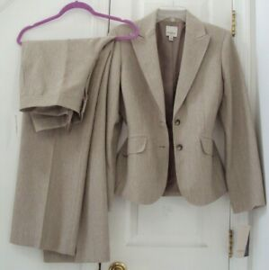NEW! ANNE KLEIN ll 10 2-PC KHAKI STREAKED BLAZER & 'CHLOE' DRESS PANT SUIT $280