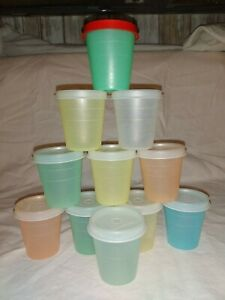 Vintage TUPPERWARE  Pastel MIDGETS Lot of 11 With Lids 2 oz Mini Containers
