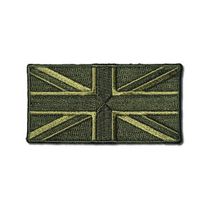 """Embroidered 3"""" British UK Flag Green Iron on Patch Biker Patch"""