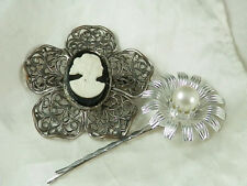 Flower Hair Pin Lot 106A4 Vintage 1950s Cameo Brooch Faux Pearl