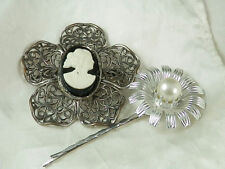 Vintage 1950s Cameo Brooch Faux Pearl Flower Hair Pin Lot  106A4