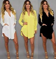 Women Ladies Casual Loose Long Sleeve Chiffon Shirt Dress Blouse Tops Plus Size