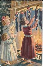 BA-133 - A Merry Christmas, Three Girls Getting Stockings, 1907-1915 Postcard