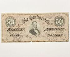 Obsolete Confederate States of America $50 Note #28259 Dated Feb. 17, 1864