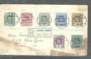 TOGO (P2903B) KGV OVPT ON GOLD COAST 7 VALUES ON REG COVER TO LONDON