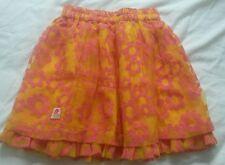 Oilily girls skirt, orange, pink flowery, age 5-6 years, 116cm