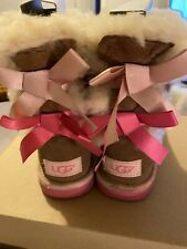 Ugg Chestnut  Bailey bow Suede Boots Girls Size 12