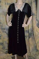 vtg 90s VICTORIAN revival LACE long BOOT DRESS black velvet BUTTONS 8 M Chung