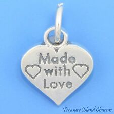 Made With Love Heart .925 Solid Sterling Silver Charm Pendant 11mm USA