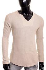 Men's Casual V Neck Shirt Summer Linen like 100% Cotton Slim Fit Long Sleeve NEW