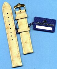 GENUINE OMEGA GOLD PLATED BUCKLE TANG and GENUINE CREAM OSTRICH STRAP BAND 18mm