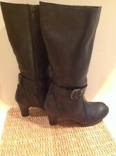 Ladies,size 3.BHS.soft black leather calf boots.Strap,and buckle trim.
