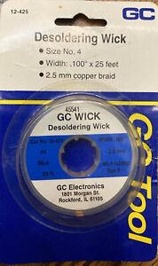 "Lot Of 3:GC Wick Waldom Electronics Size #4 Soder Desoldering 25 Ft. 2.5MM .100"""