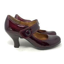 Sofft Women's Sz 7.5 M Burgundy Patent Leather Mary Jane Pumps Heels