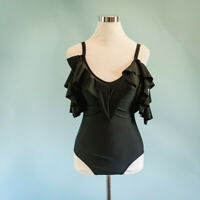 Nicole Miller Small S Swimsuit One Piece Black Cold Shoulder Ruffle Modest