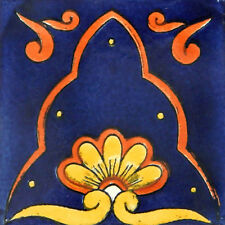 "Handmade Mexican Tile Sample  Talavera Clay 4"" x 4"" Tile C054"