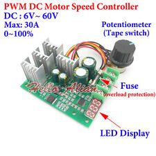 DC 6-60V 12V 24V 36V 48V 30A Digital LED PWM DC Motor Speed Controller Regulator