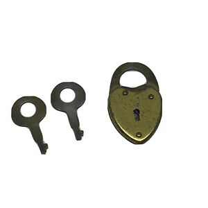 Vintage Small Heart Shaped Padlock 2 Skeleton Keys Diary Lock Made in USA