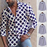 Mens Polka Dot Long Sleeve Retro Shirt Button Down Shirt Dot Printed Blouse Tops