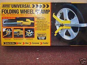 """UNIVERSAL FOLDING  WHEEL CLAMP SUITS WHEEL 13"""" TO 15"""" MP907 C8-9"""
