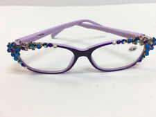 eae461c08986 New Women s Blue Swarovski Crystal Fancy Purple Readers Eyeglasses +2.00