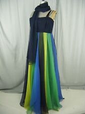 Miss Elliette Vtg 70s Navy Long Dress w/Multicolor Layers & Shawl-Bust 34/Xs