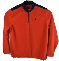 Johnnie-O Fleece 1/4 Zip Pullover XXL Orange with Navy Blue Trim Poly JMKO1290