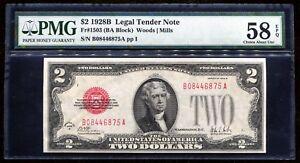 FR. 1503 1928-B $2 RED SEAL LEGAL TENDER UNITED STATES NOTE PMG AU-58EPQ