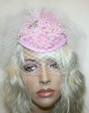 Pink Fascinator, Wedding  and Prom Accessories, Headband with Feathers and Veil