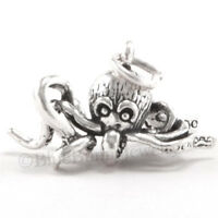OCTOPUS Charm Sea life Pendant Nautical Ocean animal STERLING SILVER 925 3D