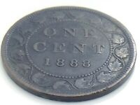1888 C2 Canada One 1 Cent Large Penny Copper Circulated Victoria Coin K048