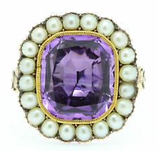 A Stunning 7ct Amethyst & Pearl Cluster Ring Circa 1800's