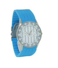 Fila FA0848-R-L Barocco Men's Round Analog Silver Tone and Blue Silicone Watch