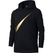 Nike Girls Metallic Gold Pullover Hoodie S Big Kids Gym Casual New
