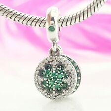 925 Sterling Silver Dazzling Clover Dangle Charm Green & Clear CZ Pendant 2019