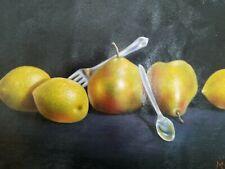 New ListingHyperrealism Still Life Pears Lemons Handpainted Oil Canvas Painting 16x12