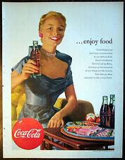 "Print Ad 1952, Coke Coca-Cola Enjoy Food Bottles Food Tray, 9.5""x12.5"", Ex Cond"