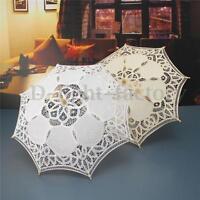 """23"""" Lace Cotton Parasol Bridal Wedding Decoration Girl Umbrella Ivory White"""