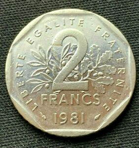 1981 France 2 Francs Coin XF    Nickel World Coin        #K1428