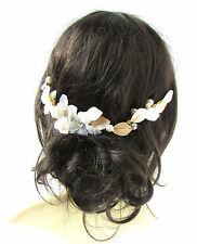 Ivory White Flower Gold Leaf Hair Vine Headband Pearl Bridal Silver Grecian 1008