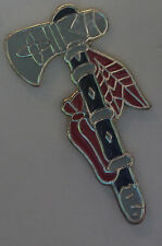 New Indian Tribal Tomahawk Lapel Hat Pin Ritual Feathered Tie Tack Ancient Tool