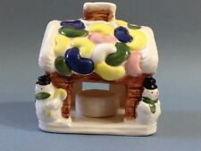 A Lovely Christmas House with Snowmen Ceramic Candle Holder