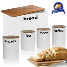 5pc White Bread Bin Canister Set Kitchen Loaf Storage Box + Airtight Bamboo Lid