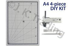Scrapbooking 4pc Kit: A4 Craft Cutting Mat, Circle Cutter, Craft Knife, 6 Blades
