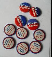 Lot of 10 Vintage Richard Nixon Agnew Political Campaign Pins Pinbacks