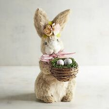 Pier 1 Fiona Natural Bunny with Flower Garland & Basket Eggs Easter Decoration